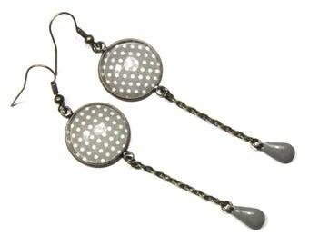 Earrings studs, enameled weight gray drops