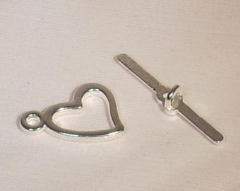 Silver metal heart 14x28mm bar Toggle