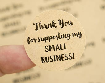 Thank you for supporting my small business- Small Business Packaging - Thank You Labels - Thank You Stickers - 48 Pieces - 1.25 Inches