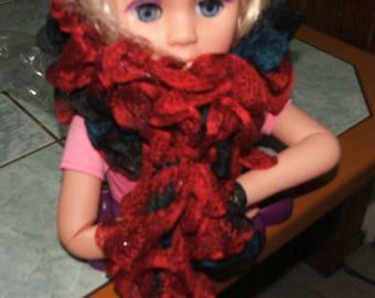 scarf color red/brown/black ruffles - handmade