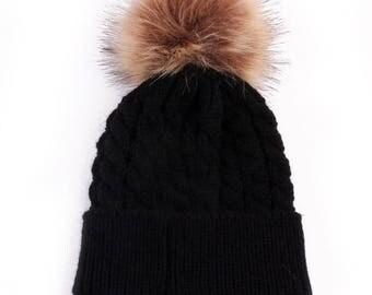 baby 0/24 months - black fur Pompom Hat