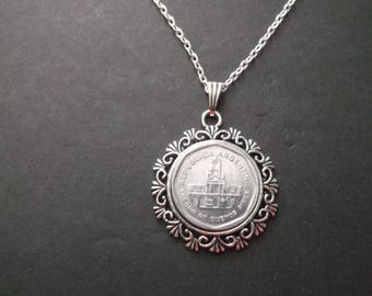 Argentina Coin Necklace -Republic of Argentina Coin Pendant in Pendant Tray