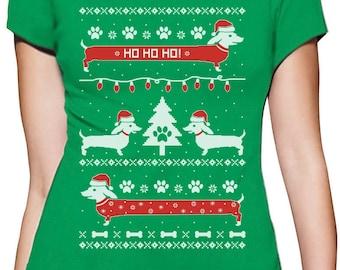 Funny Dachshund Snow Ho Ho Ho Ugly Christmas Women T-Shirt