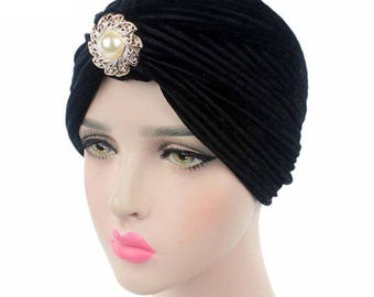 Black Velvet Indian Turban Hat, Hijab, Headwrap with Pearl Brooch