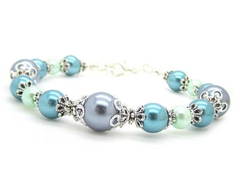 Grey Teal and Mint Bridesmaid Bracelet, Teal and Grey Pearl Jewellery, Teal Green Wedding Bracelet, Bridesmaid Gift Ideas, Bridal Party Sets