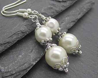 Ivory Pearl Drop Wedding Earrings, Bridesmaid Earrings, Pearl Dangle Bridal Earrings, Bridesmaid Gift Set, Bridal Jewellery, Simple Earrings