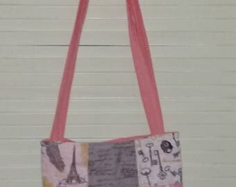 Shabby Chic Paris France Quilted Bag, Tote, Purse Pink, Black and Grey Magnetic Snap Closure 2 Pockets boxed bottom