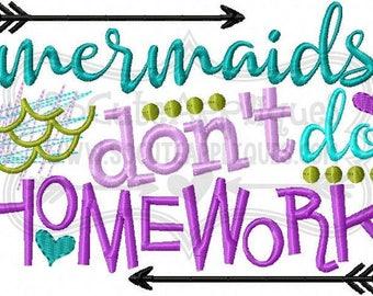 Mermaids don't do Homework/ Back to School Shirts/ Embroidered T-shirt/ Toddler T-shirt/ School Shirts