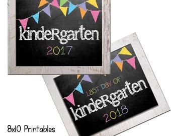 Kindergarten First Day Back to School (Bonus Last Day, too!) Photo Props. Print this fall & spring. Printable 8x10 Kids Instant Download.