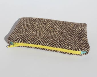 Upcycled Wool Zipper Pouch lined with Vintage inspired fabric