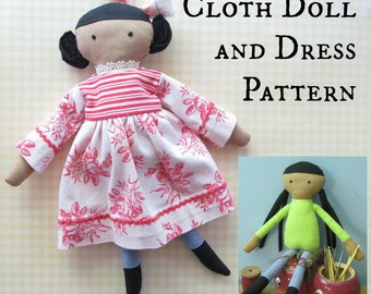 Cloth Doll PDF Sewing Pattern - Dress Included