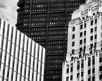 Downtown Pittsburgh Buildings Photo, black and white photograph, black and white, fine photography prints, Towers