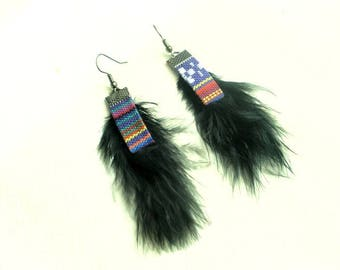 Earrings ethnic/country black feathers