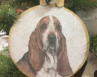 Basset Hound Christmas Ornament-Wood 4 by 4-Great for a gift or a keepsake. Personalize it! Beautiful!