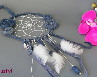 "Dream catcher is hand ""Jeans 2"" flowers made of recycled jeans, jeans, feathers, Ribbon beads"