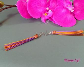 """Earrings """"Tassel"""" orange & purple - medium metal silver"""