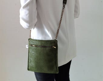 Cross body bag, Green bag, Green Cross body bag, Shoulder Bag, Gift for her, Green Messenger bag, Green Shoulder bag, Vegan Bag, Fabric bag