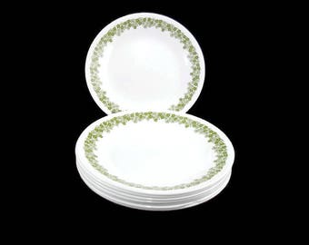 Vintage Corelle Dinnerware * Spring Blossom Green  * Set of 8 Dinner Plates * Crazy Daisy * Pyrex Compatible