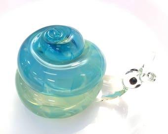Handblown Glass Snail Paperweight * Blue Art Glass