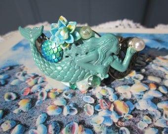 My SUMMER Verdigris MERMAID, w. fx pearl cab & LOTUS on filigree brass cuff Bracelet