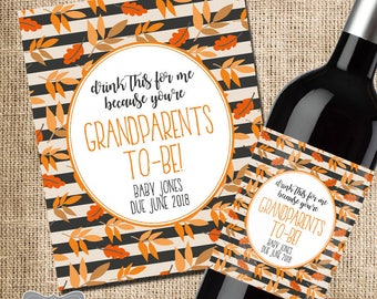 Pregnancy Reveal to Grandparents, Pregnancy Announcement Grandparents, Thanksgiving Pregnancy Announcement to Parents, Pregnancy Reveal Wine