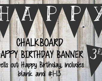 Chalkboard BIRTHDAY BANNER, DIY Printable Party Banner, Custom, Black and White, Instant Download