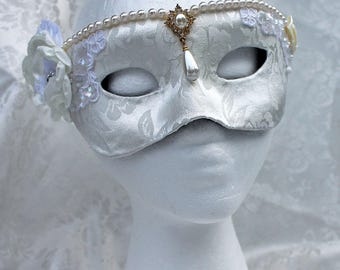 White Brocade Wedding Masquerade Mask,  White Satin Rose Brocade Over Paper Mache Masquerade Mask, White Bridal Mask