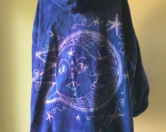 Hoodie, Organic Cotton Yoga Wear Hand dyed bleach painted, sun and moon design- size 2X