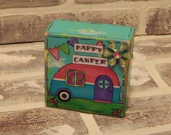 Mixed Media Happy Camper Wooden Block..Decorative Block..Mixed Media Block..Camper Art..Camper Decor..Girl's Art..Children's Decor