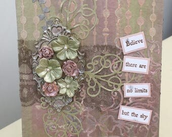 Hand crafted extra large mixed media floral frame tag