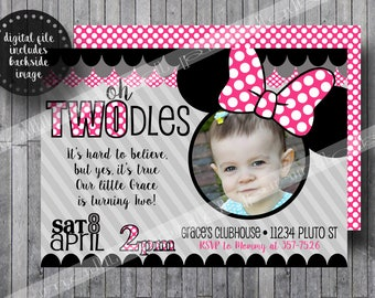 Oh Twodles invitations Toodles Minnie Mouse with Picture photo Girls Birthday Party Printable  - Pink 5x7 FREE Thank You Card Digital File