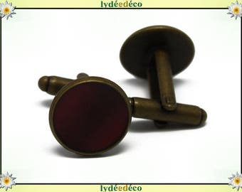 2 retro suit cuff links 14mm Burgundy resin brass bronze