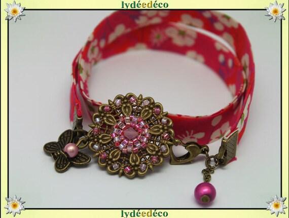 Retro spring print pink green liberty flower beads white Japanese Glass Butterfly brass bronze
