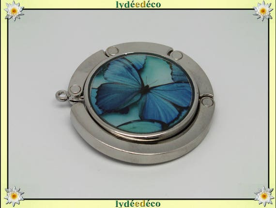 Bag retro sky blue butterfly hook turquoise resin on metal silver