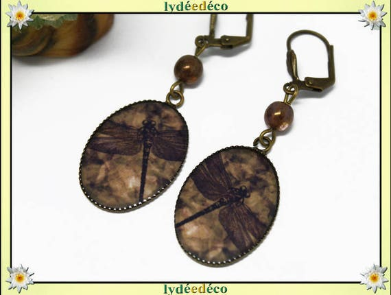 Retro earrings resin Brown sepia Dragonfly bronze pearls glass 25mm clasps shell pendants