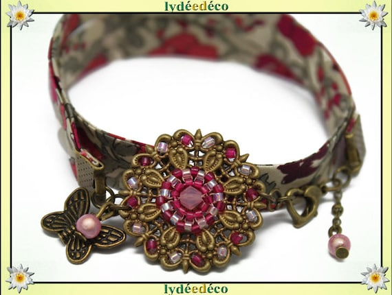 Red Burgundy retro Passion flower liberty bracelet pink beige and khaki beads Japanese Glass Butterfly brass bronze