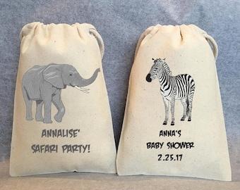 "25- Safari Party, Safari Birthday, Safari baby shower, Jungle party, Lion, Giraffe, Elephant, zebra, party favor bags, 5""x8"""