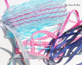 1 x set of fancy assortment pink/turquoise/blue ribbons