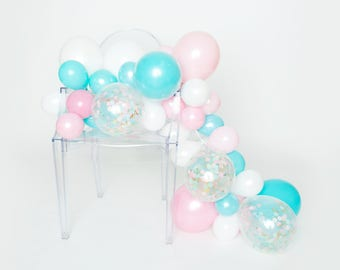 Balloon Garland Kit - Oh Baby! - Baby Pink, Light Aqua, White, Confetti Balloon Garland - Gender Reveal Decorations - Baby Shower Balloons