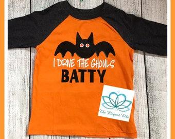 Boys Halloween shirt, i drive the ghouls batty, Halloween shirt, toddler boy Halloween shirt, baby boy Halloween shirt