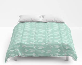 Arrows Duvet Cover, Arrows Comforter, Mint Green Duvet, Arrows Bedding, Arrows Bedspread, Mint Green bedroom, seafoam green, blue green,