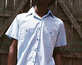 Blue Striped Uniform Shirt