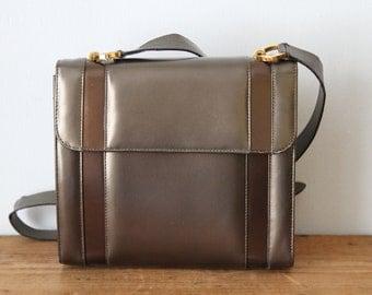 Vintage SALVATORE FERRAGAMO Bronze Metallic Handbag / Gunmetal Ferragamo Purse / Made in Italy 121617-22