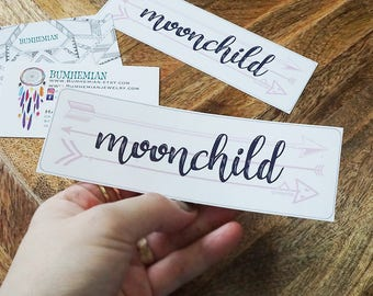 STICKERS // Moonchild Arrows Simple Sticker, Semi Gloss In-door Use, Stationary Stickers Book Decor, Handmade + Cut, Organizer Stickers