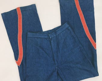 VINTAGE 1960s 1970s Cherry Bomb High Waist Bellbottoms / Flares / Wide Leg Denim Hippie Rocker Jeans Pants