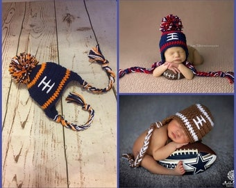 Denver Broncos Baby Boy Hat FOOTBALL Newborn Baby Boy Crochet Football Hat With Ear Flaps 0 3 6 12 months Steelers Texans