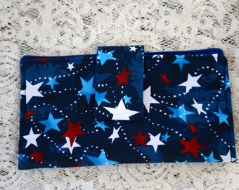 Women's Two Fold Wallet, Star Cotton Fabric, Zipper Pocket ,Credit Card Holder, Magnetic Snap Closure, Blue with Stars Fabric