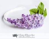 Hairband Lilac Syringa - Polymer Clay Flowers - Mothers Day Gift for Women Hair band Purple Gift For Her Flower Lilac
