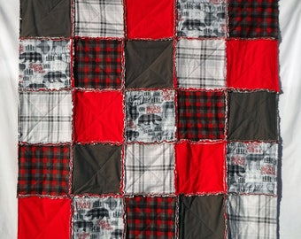 Rustic Rag Quilt, Buffalo Plaid Baby Blanket, Baby Boy Blanket, Red and Gray Rag Quilt, Red Plaid, Gray Plaid, Snuggle Flannel, Personalize