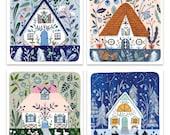 "Set of 4 ""Houses"" postcards / message cards set"